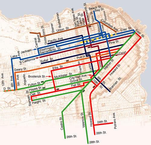 San Francisco Trolley Map Pdf San Francisco Cable Car Map